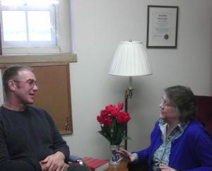 Speaking with a spiritual direction client.