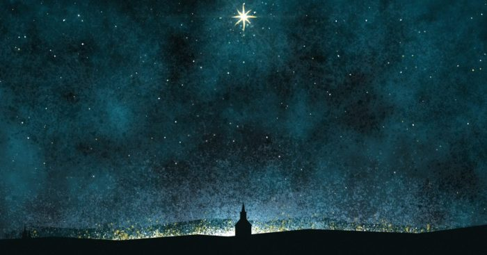 an image of a star of Bethlehem over an outline of a small church
