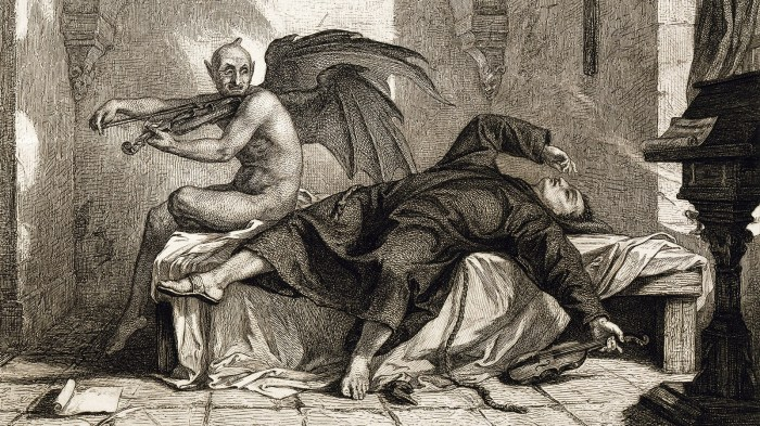 An old drawing of the devil playing violin while a man swoons on a bed